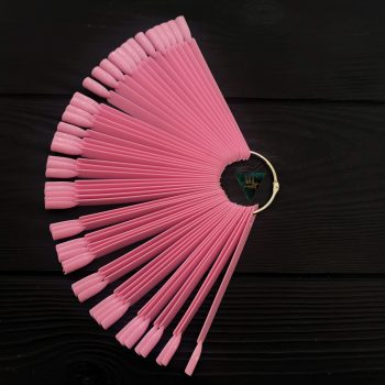 Типсы веерные на кольце, 50 штук (розовые, прямоугольные) в минске